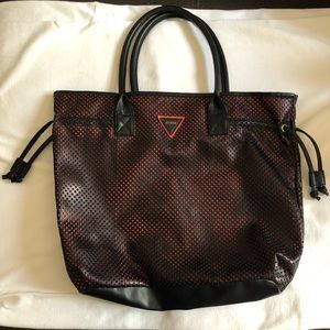 Guess Black Faux Leather Perforated Tote Bag
